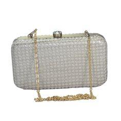 "Stunning Beige Box Clutch Made Of Crochet Silk & Removable 25"" Sling Best Price! #ArishaKreationCo #BoxClutch"