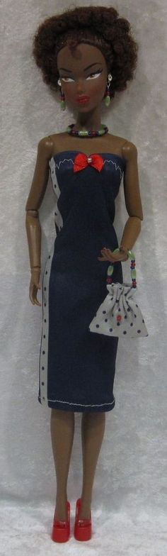Dynamite Girls MONSIEUR Z Poppy Parker Doll Clothes #06 Dress, Purse, Jewelry #HandmadebyESCHdesigns