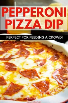 crockpot appetizers Pepperoni Pizza Dip has all the things you love about pizza-- gooey cheese, savory and crispy pepperoni with a sweet pizza sauce! A family favorite for entertaining for crowds, football parties or just a snack on a Friday night! Crockpot Pizza Dip, Pizza Dip Recipes, Crockpot Recipes, Cooking Recipes, Cheese Appetizers, Appetizer Dips, Appetizers For Party, Appetizer Recipes, Yummy Appetizers