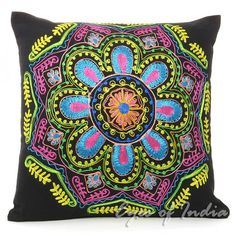 Bkack embroidered pilllow with bright Colors