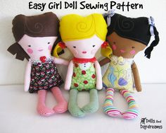* Dolls And Daydreams - Doll And Softie PDF Sewing Patterns: Easy Girl Doll Sewing Pattern