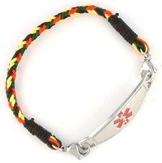 Rasta Braided Medical ID Bracelet