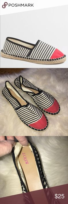J. Crew factory cap toe striped espadrille size 10 Cute J. crew factory black striped espadrille with red cap Toe. Great shoes for vacation, the beach! Size 10. Excellent preowned condition. Minor wear to bottoms. No modeling/trades J. Crew Factory Shoes Espadrilles