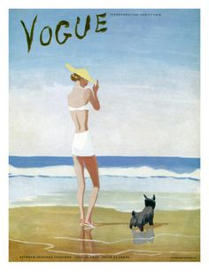 Published July 15, 1937 In this high summer scene on the cover of the July 15, 1937, Vogue, Spanish-born illustrator Eduardo Garcia Benito depicts an understated but glamorous beachcomber venturing into the ocean with her faithful Cairn terrier at her side. The unfussy image is typical of Benito's strong but economical style.