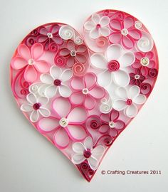25 DIY Valentine's Day Paper Heart Crafts - Curled paper flowers within a heart! Great for Valentines Day, Weddings, or just because! Mothers Day Crafts, Valentine Day Crafts, Holiday Crafts, Kids Valentines, Valentine Ideas, Easy Diy Crafts, Crafts For Kids, Decoration St Valentin, Valentines Bricolage