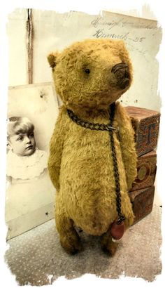 """Old Gold Bear handmade by Wendy Meagher of Whendi's Bears - A  ONE OF A KIND DESIGN  *** Aprrox. 8.5"""" Tall - Antique Style Old Gold Bear, very old chain and vintage childs toy bead with antique boot button If you like antique toys then you won't be disappointed in this piece! He looks and feels like an antique toy ....so wonderful to hold in your hands. He is wonderfully distressed to look like he came out of an old trunk in the attic but he is newly made by me ..."""