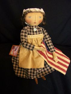 Primitive Americana doll,Betsy Ross,folk art,collectible, by Dumplinragamuffin Americana Home Decor, Raggedy Ann And Andy, Patriotic Crafts, Old Glory, Felt Dolls, Doll Patterns, Ornaments Recipe, Folk Art, Gingerbread Ornaments