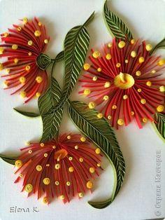 Картина панно рисунок Квиллинг Цветы эвкалипта Бумажные полосы фото 4