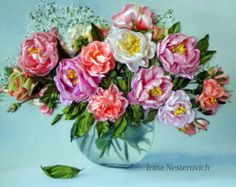 Embroidered picture roses  Embroidery with от RibbonEmbroiderySilk