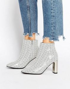 Sol Sana Alicia Polka Dot Snake Print Leather Heeled Ankle Boots