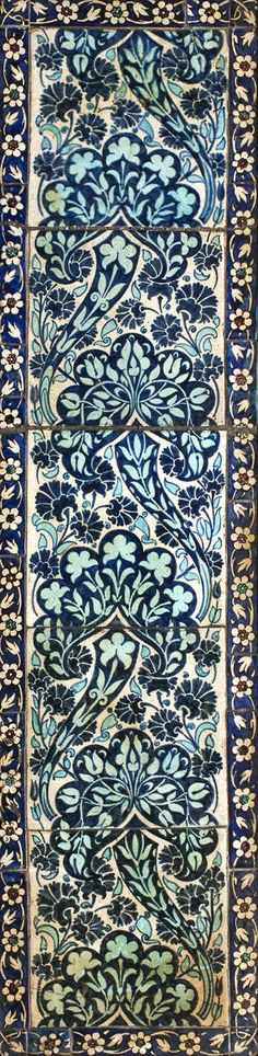 William De Morgan, framed tile Persian floral  panel, circa 1880