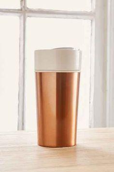 Cute copper colored steel travel mug.