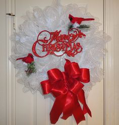 White with Red Merry Christmas Deco Mesh Christmas Wreath on Etsy, $60.00