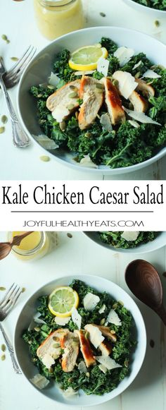 Easy Kale Chicken Caesar Salad with pepitas, shaved parmesan and a homemade egg and anchovy free Caesar Dressing! Its the perfect salad recipe to have for the summer! | joyfulhealthyeats.com