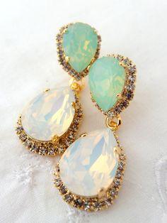 White opal and mint Chandelier earrings Bridal earrings Dangle earrings Drop earrings Weddings jewelry Swarovski earrings Bridal Earrings, Dangle Earrings, Jewellery Earrings, Cute Jewelry, Jewelry Gifts, Bridal Accessories, Jewelry Accessories, Gold Earrings Designs, Chandelier Earrings