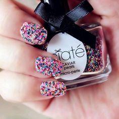 Nail art, glitter, looks like candy