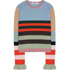 Valentino Striped Wool Sweater (€560) ❤ liked on Polyvore featuring tops, sweaters, multicoloured, colorful sweaters, multi colored striped sweater, wool sweater, woolen tops and multi stripe sweater