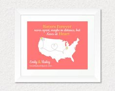 Long Distance Sister Present, Custom Going Away Gift, Sister Quote Print, Birthday Gift for Sister, Present for Daughters, Personalized Map, Keepsake, Map, Home Decor by #KeepsakeMaps on Etsy