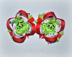 Grinch Pigtail Bows