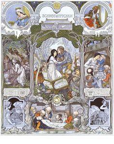 Heinrich Lefler/Joseph Urban, Illustration for Snow White in Bilderbogen für Schule und Haus (1905):
