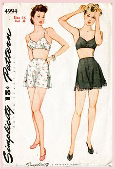 vintage sewing pattern 1940s 40s lingerie bra and tap shorts bust 34 b34 repro reproduction