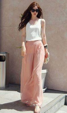 Womens Pink Chiffon Wide leg pants Trousers long dress maxi skirt maxi dress XS,S,M,L,XL Chiffon Pants, Chiffon Maxi, White Chiffon, Chiffon Blouses, Sheer Chiffon, Pallazo Pants, Mode Pastel, Peach Skirt, Womens Fashion