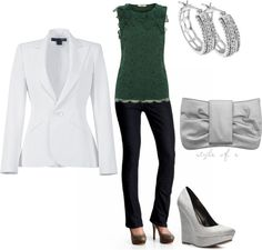 """""""Gray with a pop of dark green"""" by styleofe ❤ liked on Polyvore"""