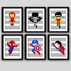PRINTS Super hero wall art boys room art or playroom art (6) 8x10 already printed