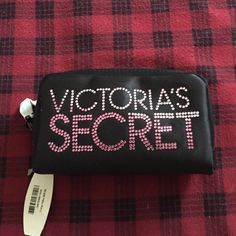 "VS  Host Pick  Black Satin Sequin Makeup Bag NWT Victoria's Secret Black Satin Bag. Pink Sequin all there. 3 1/2"" X 5 1/2"" Zipper still Wrapped! Perfect for a purse to store Makeup on the go! Please ask all questions prior to buying. I Bundle. Victoria's Secret Makeup"