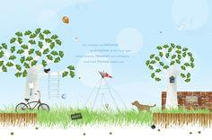 Fotobehang Jongen voor kinderkamer - Tekst in de lucht, foto in boom en naambordje zijn aanpasbaar.  www.behangrijk.nl