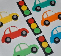 Cars and Traffic Lights Fondant Toppers for by LadyCupcakesCorner