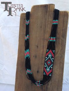 Beaded necklace - Be sure to check out Twisted Rank Beadwork on Facebook! Bead Loom Bracelets, Beaded Bracelet Patterns, Bead Loom Patterns, Beading Patterns, Beaded Earrings, Seed Bead Jewelry, Beaded Jewelry, Handmade Jewelry, Bead Crafts