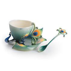 kathy ireland Home by Franz Collection Peacock Splendor Porcelain Tea Cup Set - FZ01205 / FZ01206 $193