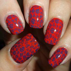 MoYou Nails Plate 124 & MoYou Nails Stamping Polishes #wendysdelights #floral #red #mani #polish #nailart - bellashoot.com
