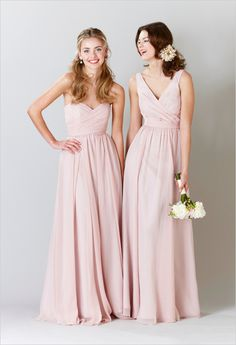 pink bridesmaid dresses. Love the strapless long. Different a color?