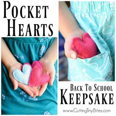 Fill a pocket heart with love as a back to school keepsake for your child. A nice tool for helping to deal with nerves or anxiety about going back to school. Quick and easy to sew! Back To School Gifts For Kids, Back To School Crafts, Going Back To School, Beginning Of School, First Day Of School, School Fun, School Ideas, Sewing Crafts, Sewing Projects