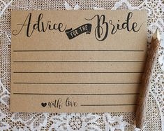 Advice for the Bride Cards . Bridal Shower Advice Cards . Bridal Advice Cards . Printable Shower Advice Cards . Instant Download . Rustic