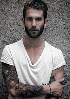 Full beard and short haircut for men