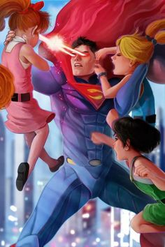 Superman vs The powerpuff girls! Who wins? : Superman vs The powerpuff girls! Who wins? More memes, funny videos and pics on Marvel Vs, Marvel Dc Comics, Style Badass, Super Nana, Poses References, Cartoon Crossovers, Dc Comics Art, Power Girl, Power Puff Girls Z