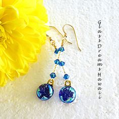Sapphire Blue Dangle Earrings, Fused Glass Earrings, Dichroic Jewelry,... ($35) via Polyvore featuring jewelry, earrings, blue earrings, sapphire dangle earrings, blue glass earrings, beach glass jewelry and bohemian jewelry