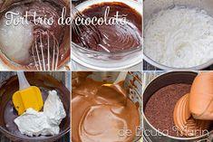 Din bucătăria mea: Tort trio de ciocolata Icing, Desserts, Food, Pies, Deserts, Cream, Tailgate Desserts, Eten, Postres