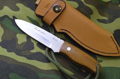 """Original"" Bushcrafter, a 5 mm N690 stainless steel, Bohler, Austira, full tang compact survival knife with Micarta scales, lanyard, Handcrafted leather sheath, Certificate of Authenticity as a handcrafted knife by us as well as a signed Unconditonal Lifetime Guarantee."