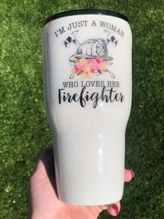 Excited to share this item from my shop: Firefighter Wife Glitter Tumbler. Just a girl who loves her firefighter. Diy Tumblers, Custom Tumblers, Glitter Tumblers, Firefighter Decor, Firefighter Apparel, Firefighter Quotes, Volunteer Firefighter, Glitter Cups, Glitter Bomb