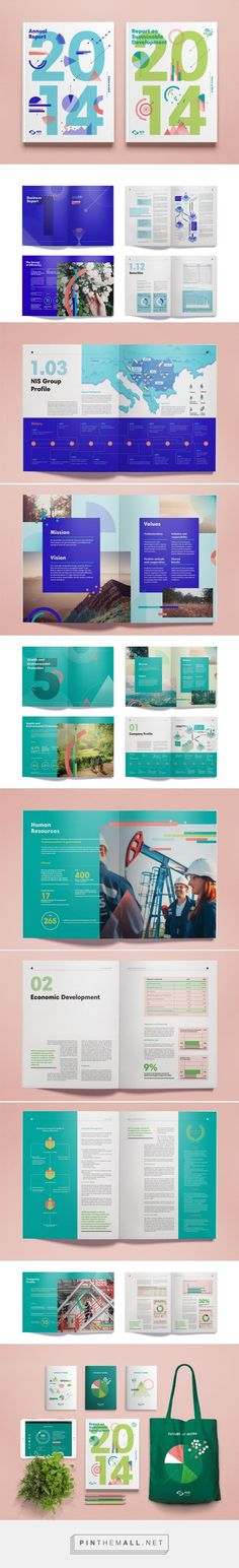 NIS Annual Report 2014 by Metaklinika design studio Design Brochure, Booklet Design, Brochure Layout, Graphic Design Layouts, Book Design Layout, Print Layout, Graphic Design Inspiration, Branding Design, Studio Layout