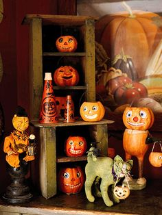 These German paper mache pumpkins are more cute than spooky! Also highly collectible.