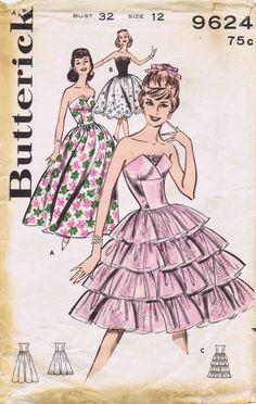 Butterick 9624 1960 Vintage Sewing Pattern Misses  Evening Dress Petal Bodice Tiered Ruffled Skirt,  Size: 12 Bust: 32 at yourpatternshop.com. jwt