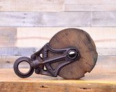 Vintage Pulley, Wood And Cast Iron Barn Pulley