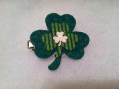 St. Patrick's day shamrock barrette by HairFlairLady on Etsy, $5.00
