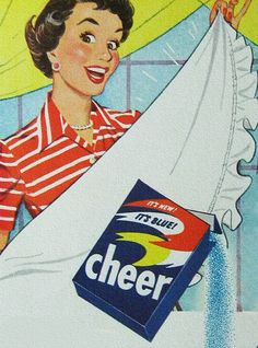 Betty uses Cheer for her family. Clean and fresh!    Cheer - 1954