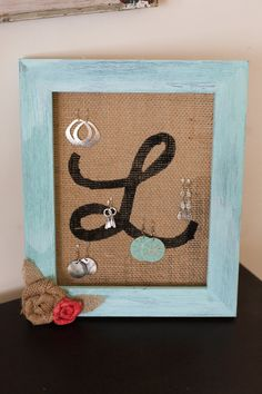Personalized Earring Holder, Teal Frame and Burlap earring organizer, Jewelry organizer, Earring Display